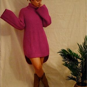 Oversized Pink Turtleneck Sweater